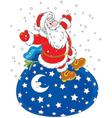 Santa Claus on a bag of gifts vector image