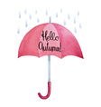 Watercolor red umbrella with rain drops vector image