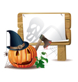 Halloween wooden board vector image vector image