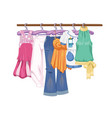 clothes on hangers women s and teenager s clothes vector image