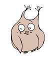 cute funny embarrassed shy and blushes owl bird vector image