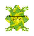 emblem of love nature with branches and leaves vector image