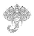 monochrome hand drawn zentagle an elephant head vector image