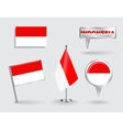 Set of Indonesian pin icon and map pointer flags vector image