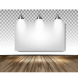 Grey room with three lights and wooden floor vector image