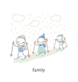 Family skiing vector image vector image