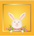Rabbit with a red bow on a yellow background vector image vector image