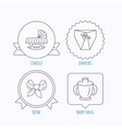 Baby mug diapers and cradle bed icons vector image