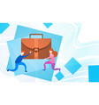 business people group team hold suitcase vector image