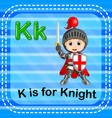 flashcard letter k is for knight vector image