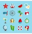 Holiday vacation icons set vector image