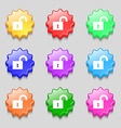open lock icon sign symbol on nine wavy colourful vector image