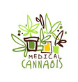 medical cannabis label logo graphic template vector image
