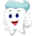 Cute tooth cartoon giving a thumb up vector image