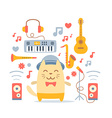 Musician character in costume hat and bow tie vector image