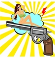 beautiful woman sitting on revolver vector image