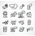 Contact Us Icons Sketch vector image
