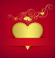 Gold heart classic valentine day greeting card vector image