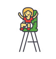 kid in the child chair concept line icon vector image