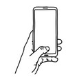 left hand using vertical blank screen mobile phone vector image