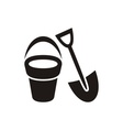 Shovel and bucket vector image
