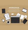 top view of desk background vector image
