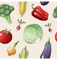 Vegetables Seamless Pattern in Vintage Style vector image