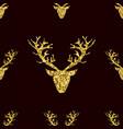Gold glitter deer horns seamless pattern vector image