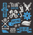 Car racing badges in retro style vector image