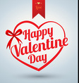 Heart ribbon with Happy valentine day text vector image