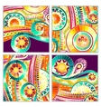 Set of four abstract doodle cards vector image