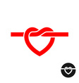 Heart knot silhouette logo Simple red heart rope vector image vector image