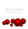Christmas card with red balls vector image