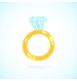 Cute cartoon ring with brilliant Engagement ring vector image
