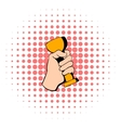 Hand holding trophy cup icon comics style vector image