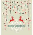 Merry Christmas vintage reindeer and bauble vector image