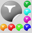 Underwear icon sign Set of eight multi colored vector image