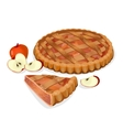 Apple pie with fruits cut slice isolated vector image