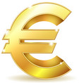 Gold sign euro currency vector image