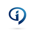 Letter I speech bubble info logo icon design vector image