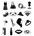 ladies cosmetic accessories icons set vector image vector image