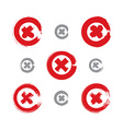 Set of hand-drawn close icons scanned and vector image