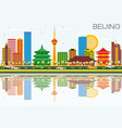 beijing skyline with color buildings blue sky and vector image