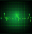 heart pulse graphic ekg line on green background vector image