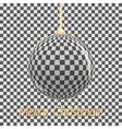Stylish Christmas card Glass ball on a gray vector image