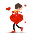 woman with big heart and small hearts isolated on vector image