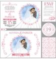 Wedding invitation setKissing BridegroomPink vector image vector image