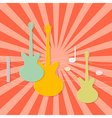 Abstract Paper Guitars on Retro Red Background vector image