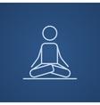 Man meditating in lotus pose line icon vector image