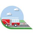 Flat design city Transportation fire truck side vector image